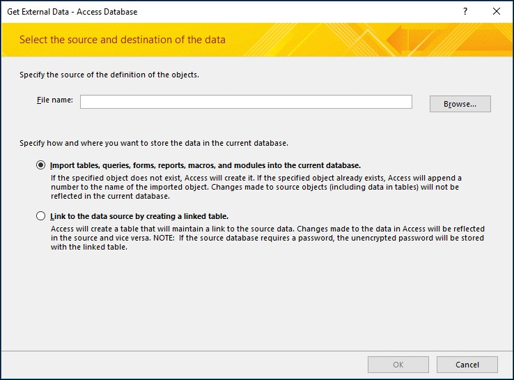 Select the Access Database File to Import