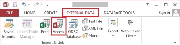 Select Access under External Data