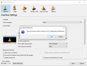 VLC_Reset Preferences