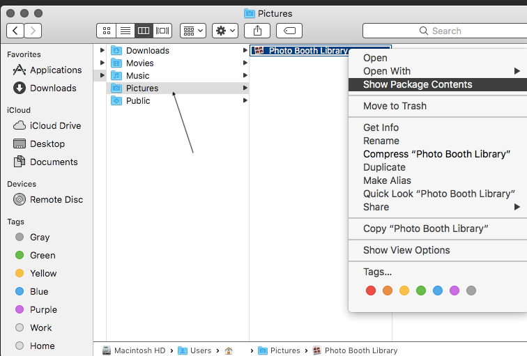 Photo Boot Library folder on Mac