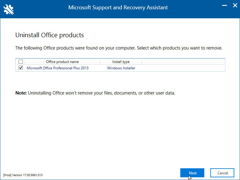Microsoft Support and Recovery Assistant utility