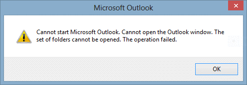 Cannot Start Microsoft Outlook Error Alert Box