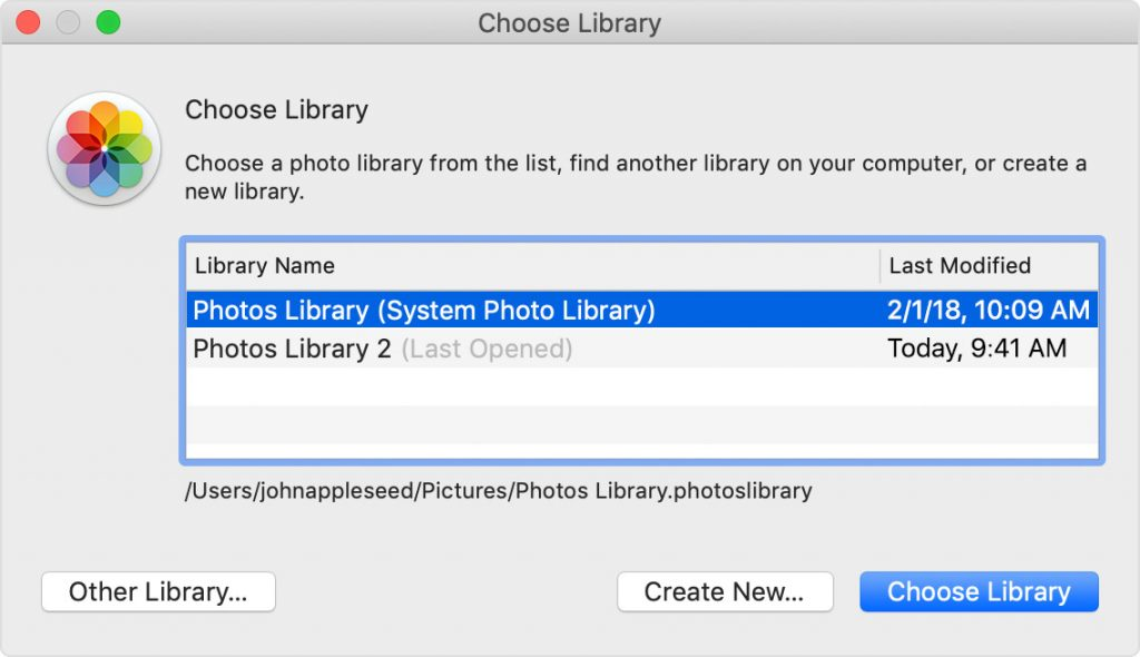 Choose Library dialog box on Mac
