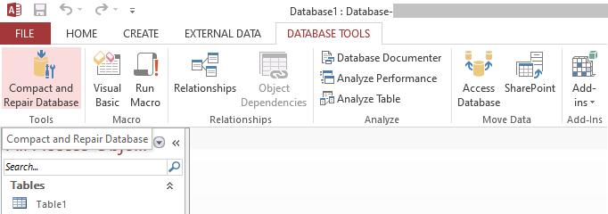 Select Compact and Repair Database