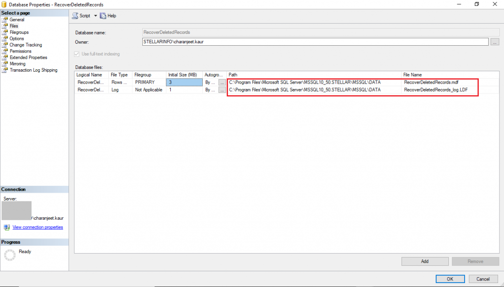 Check database Location in SSMS