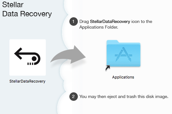 Drag and drop Stellar Data Recovery icon to Applicaitons