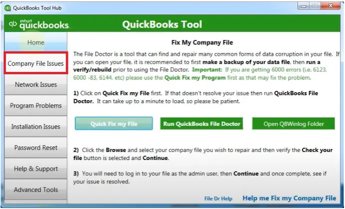 QuickBooks Tool to Fix Company File Issues