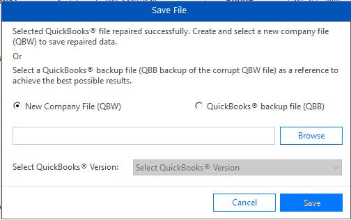 select a QuickBooks® backup file