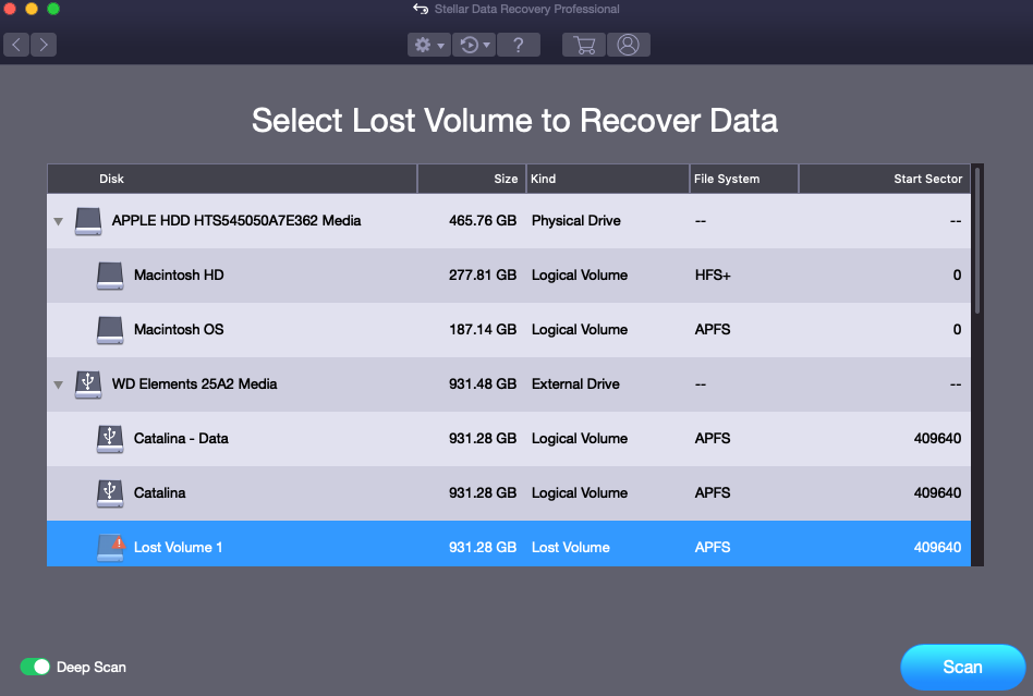 Select and Recover Lost Partition