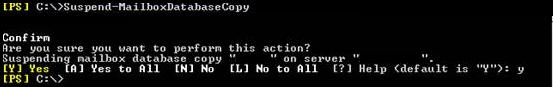 Suspend-MailboxDatabaseCopy
