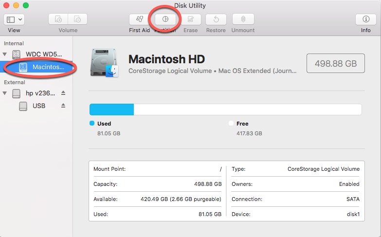 Select Macintosh HD and Got to Partition tab