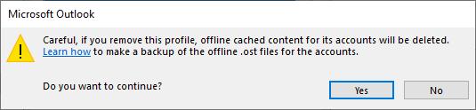 confirm to remove profile