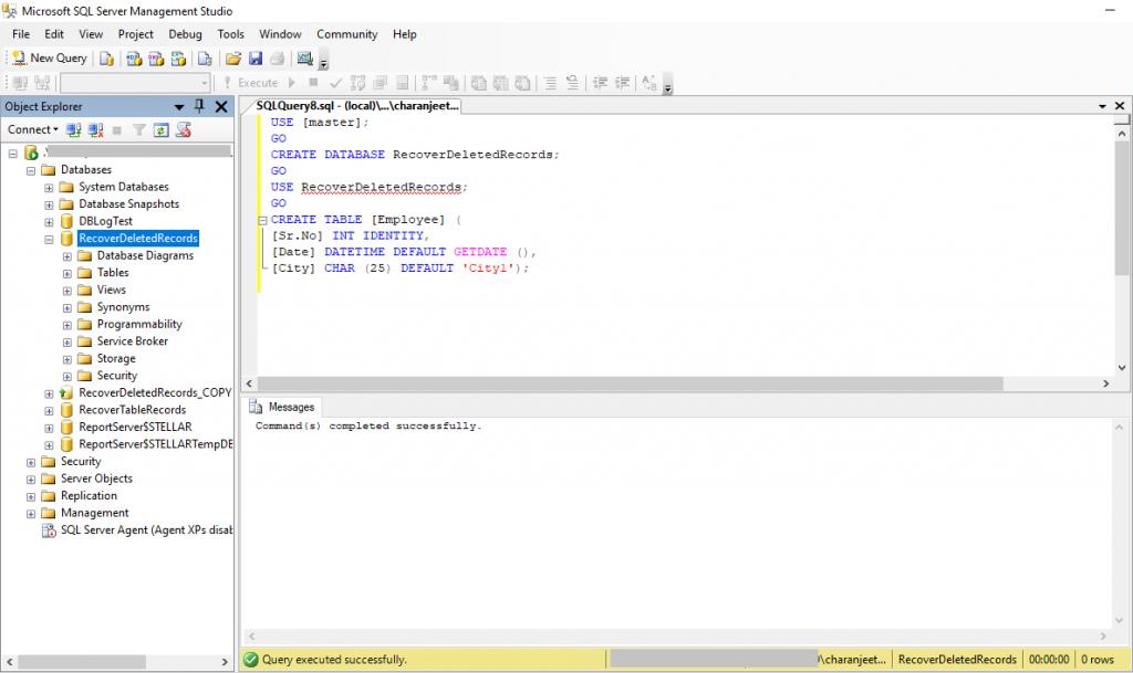 Create Database in SSMS