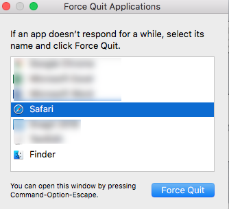 Press the Force Quit Button