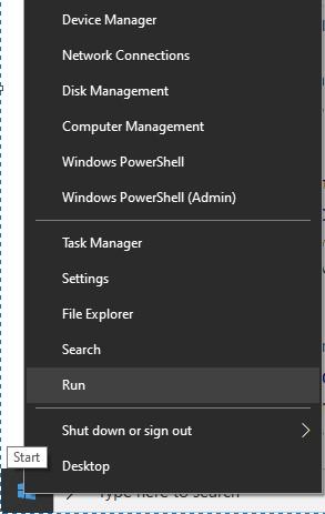 Launching Run utility from Start menu