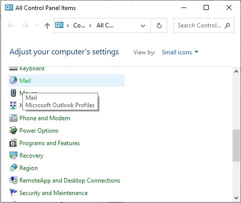 mail in control panel