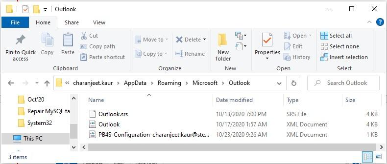 Outlook files folders