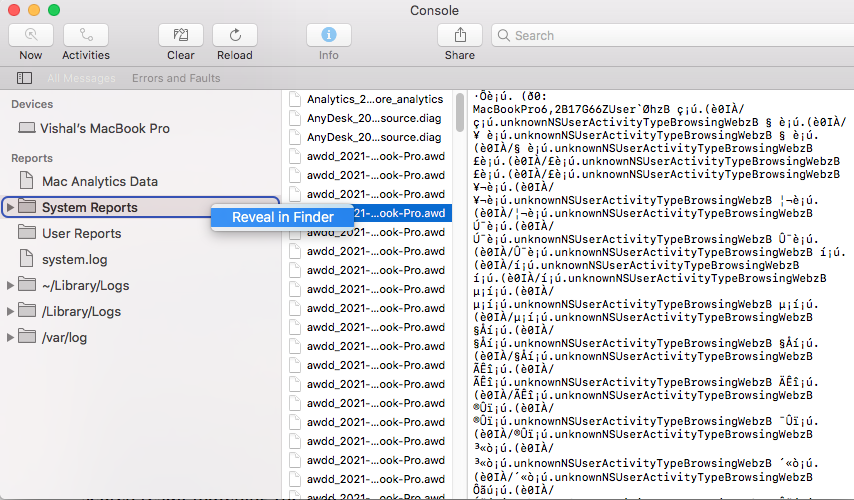 Right Click on Reveal in Finder
