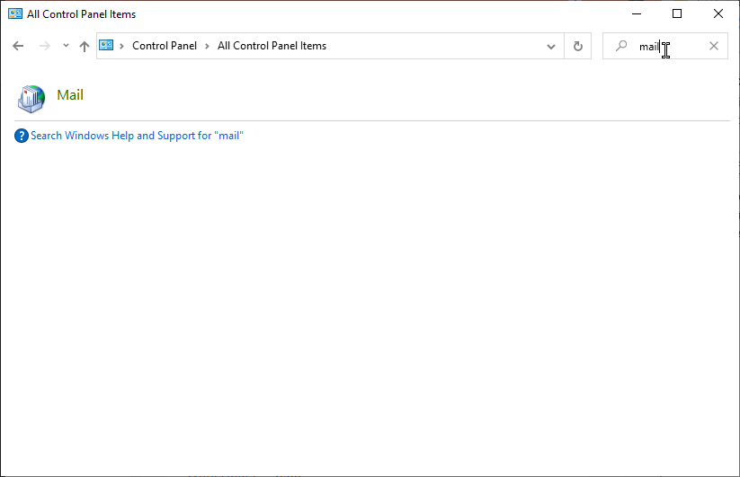search mail control panel
