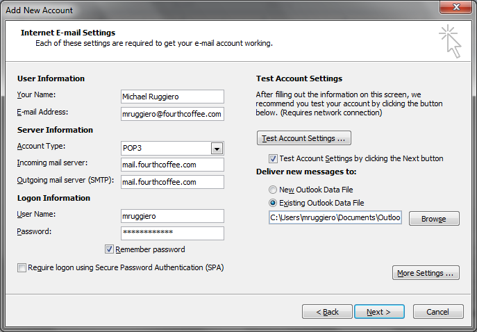 set up new outlook profile