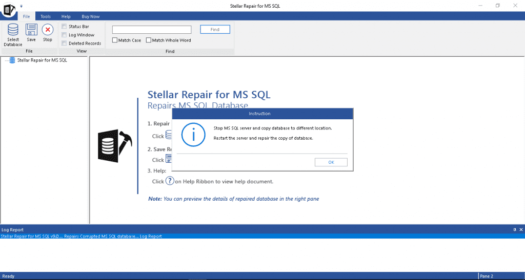 Stellar Repair for MS SQL Main Interface