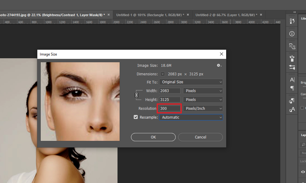 Image Size box in Photoshop CC 2017