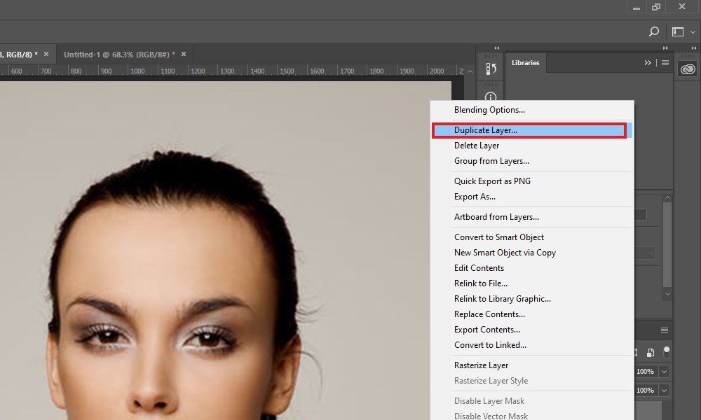 Duplicate Layer option Photoshop CC 2017