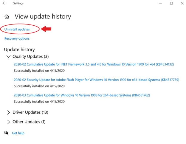 uninstall updates windows