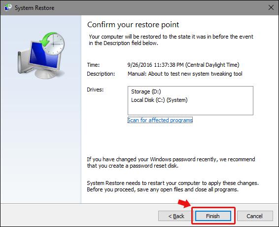 confirm restore point windows