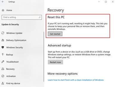reset pc windows