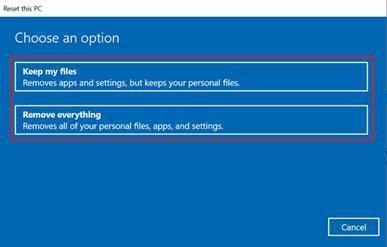 keep specific files windows reset