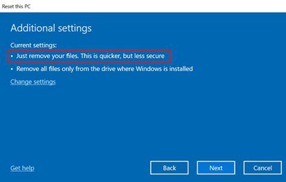 remove files windows reset