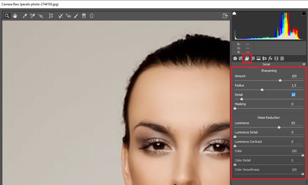 Image Sharpening and Noise Reduction sliders