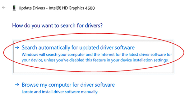 search updated driver windows