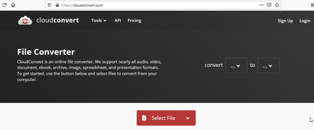 Cloud Convert Select File