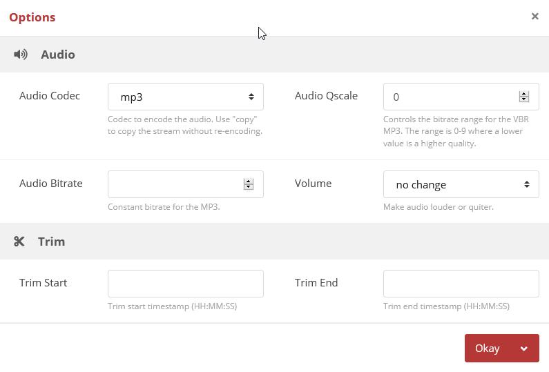 Cloud Converter Select Audio Setting