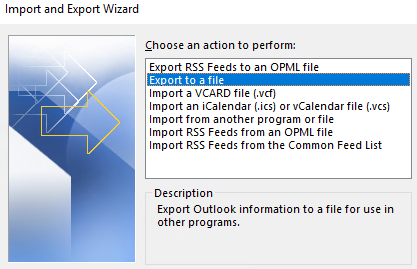Export to a file and click Next