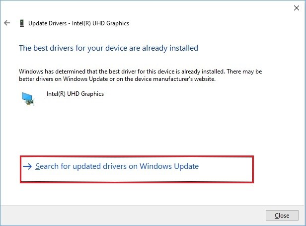 Search for Updated Drivers on Windows Update