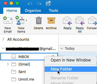 Creating a new folder in Gmail account