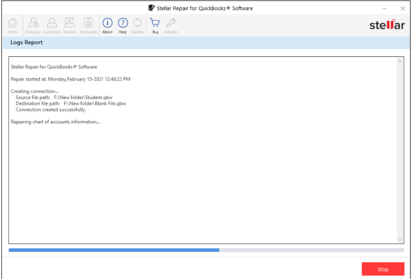 log report of quickbooks repair process