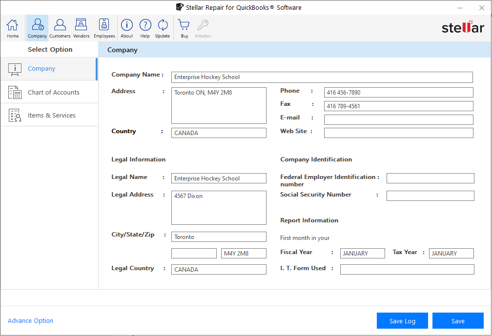 preview of recoverable company file data