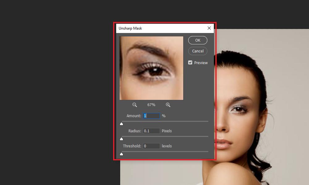 Unsharp Mask window in Photoshop