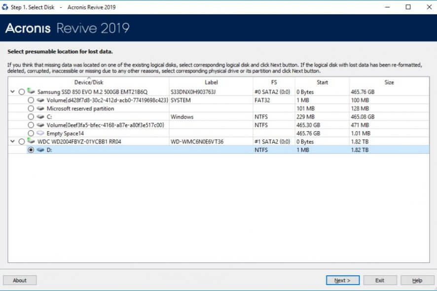 Acronis Revive Data Recovery