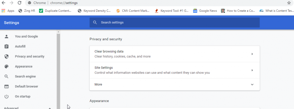 Clear browsing data under Privacy and Security to fix video error code