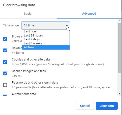 Clear browsing data window to fix error 224003