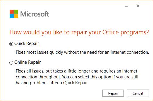 MS Office Repair Window