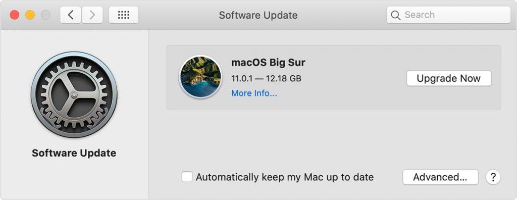 Mac Big Sur software-update