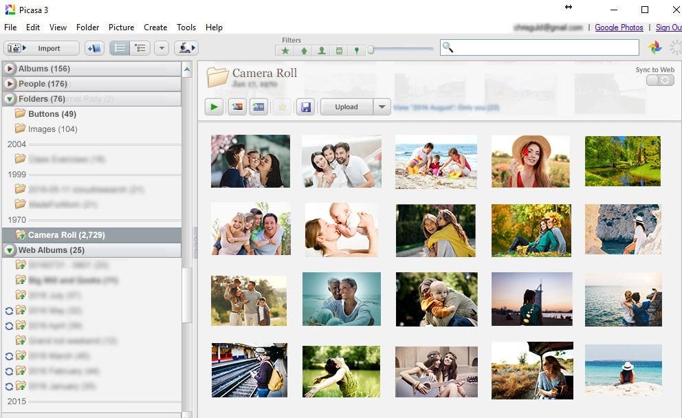 Picasa desktop app interface