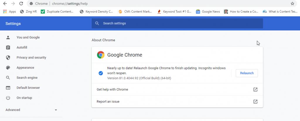 Update or Relaunch Chrome in Windows 10 PC to fix error code 224003