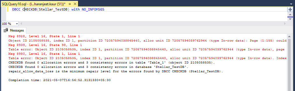 dbcc checkdb with noinfomsgs 2